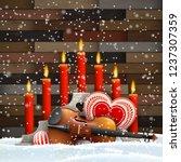 wooden christmas candlestick... | Shutterstock .eps vector #1237307359