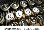 typewriter with blog buttons ... | Shutterstock . vector #123732508