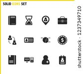 work icons set with notepad ...