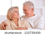 happy beautiful elderly couple... | Shutterstock . vector #123735430
