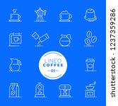 lineo white   coffee line icons ... | Shutterstock .eps vector #1237359286