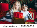two sisters near a christmas... | Shutterstock . vector #1237380553