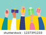 concept of giving. several... | Shutterstock .eps vector #1237391233