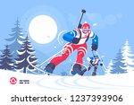biathlon race skiing man flat... | Shutterstock .eps vector #1237393906