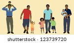 black fathers and their children | Shutterstock .eps vector #123739720