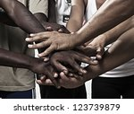 closeup portrait of group with... | Shutterstock . vector #123739879