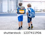 two little kid boys with... | Shutterstock . vector #1237411906