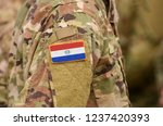 paraguay flag on soldiers arm.... | Shutterstock . vector #1237420393