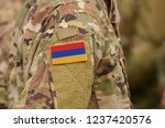 armenia flag on soldiers arm.... | Shutterstock . vector #1237420576