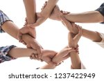 under view friendship People partnership teamwork crossed hands finishing up meeting show unity on white background , Business partner  teamwork concept