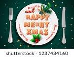christmas dinner  plate with...   Shutterstock .eps vector #1237434160