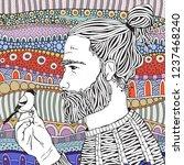 bearded man and little bird....   Shutterstock .eps vector #1237468240