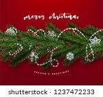 christmas postcard with vintage ... | Shutterstock .eps vector #1237472233