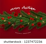 christmas postcard with vintage ... | Shutterstock .eps vector #1237472236
