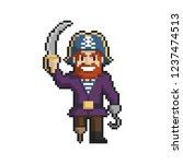 pirate pixel art on white... | Shutterstock .eps vector #1237474513