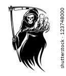 black death monster with scythe ... | Shutterstock . vector #123748000