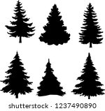 shadow of green christmas trees ... | Shutterstock .eps vector #1237490890