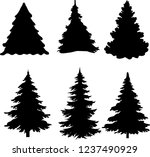 shadow of green christmas trees ... | Shutterstock .eps vector #1237490929
