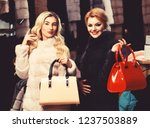 women with purses buy furry... | Shutterstock . vector #1237503889