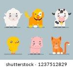 cute farm animals cartoon flat...   Shutterstock . vector #1237512829