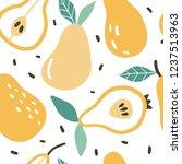 doodle pear vector seamless... | Shutterstock .eps vector #1237513963