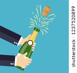 hand open champagne  champagne... | Shutterstock .eps vector #1237520899