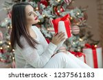woman at christmas | Shutterstock . vector #1237561183