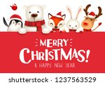 merry christmas  christmas cute ... | Shutterstock .eps vector #1237563529