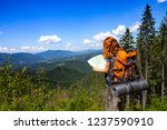 camping trip. girl hiker with a ... | Shutterstock . vector #1237590910