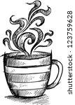 sketch doodle coffee cup vector ... | Shutterstock .eps vector #123759628