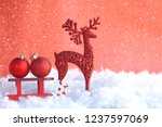 christmas red greeting card ... | Shutterstock . vector #1237597069