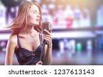 closeup of a female jazz singer ...   Shutterstock . vector #1237613143