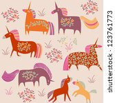 seamless pattern with unicorns | Shutterstock .eps vector #123761773