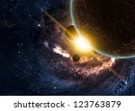 planets over the nebulae in... | Shutterstock . vector #123763879