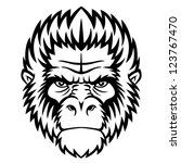 ape head logo in black and... | Shutterstock .eps vector #123767470
