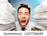 business man with heap of papers | Shutterstock . vector #1237706689
