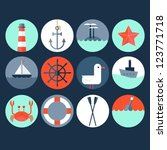 nautical icons | Shutterstock .eps vector #123771718