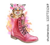 Stock photo kitten in a flower wreath with roses kitten in shoes in boots crown with pink roses and spring 1237721269