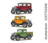 retro car sedan  coupe and... | Shutterstock .eps vector #1237723246