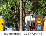 detail of a bus stop with... | Shutterstock . vector #1237724443