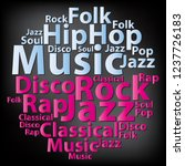 text cloud. music wordcloud.... | Shutterstock . vector #1237726183