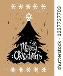 linocut imitation merry... | Shutterstock .eps vector #1237737703