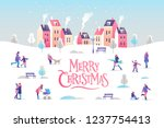merry christmas greeting card.... | Shutterstock .eps vector #1237754413