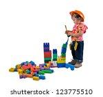 one small little girl wearing... | Shutterstock . vector #123775510
