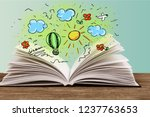 photo of stack of old books....   Shutterstock . vector #1237763653