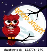 cute cartoon owl coquettish red ...   Shutterstock . vector #1237764190