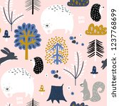 seamless childish pattern with... | Shutterstock .eps vector #1237768699