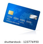 vector credit card blue icon... | Shutterstock .eps vector #123776950