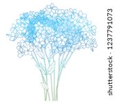 vector bouquet with outline... | Shutterstock .eps vector #1237791073