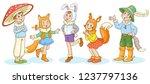 children in carnival costumes...   Shutterstock .eps vector #1237797136